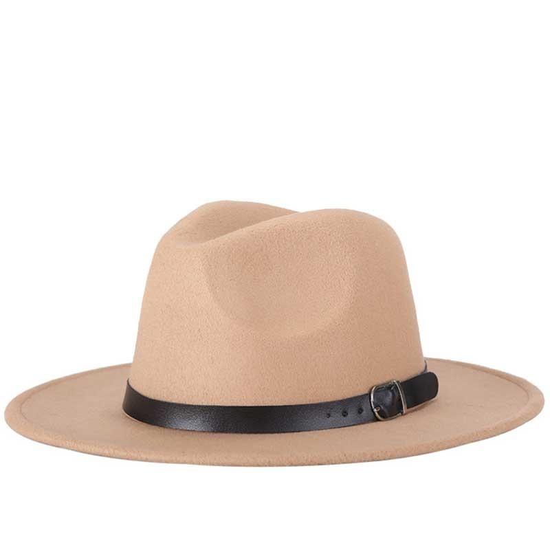 Sombreros de lana de imitación para hombre y mujer, sombrero de Jazz, redondo, europeo, americano, con lazo, para invierno y otoño