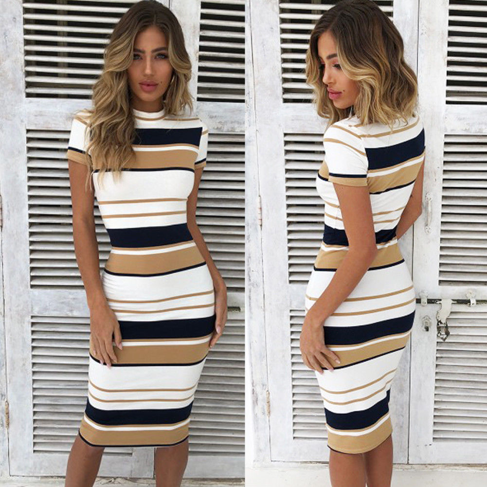 Women <font><b>Red</b></font> Summer <font><b>Dress</b></font> <font><b>Sexy</b></font> Sheath Striped Beach <font><b>Dress</b></font> O-Neck Elegant Party <font><b>Dresses</b></font> <font><b>Short</b></font> sleeve Plus Size image
