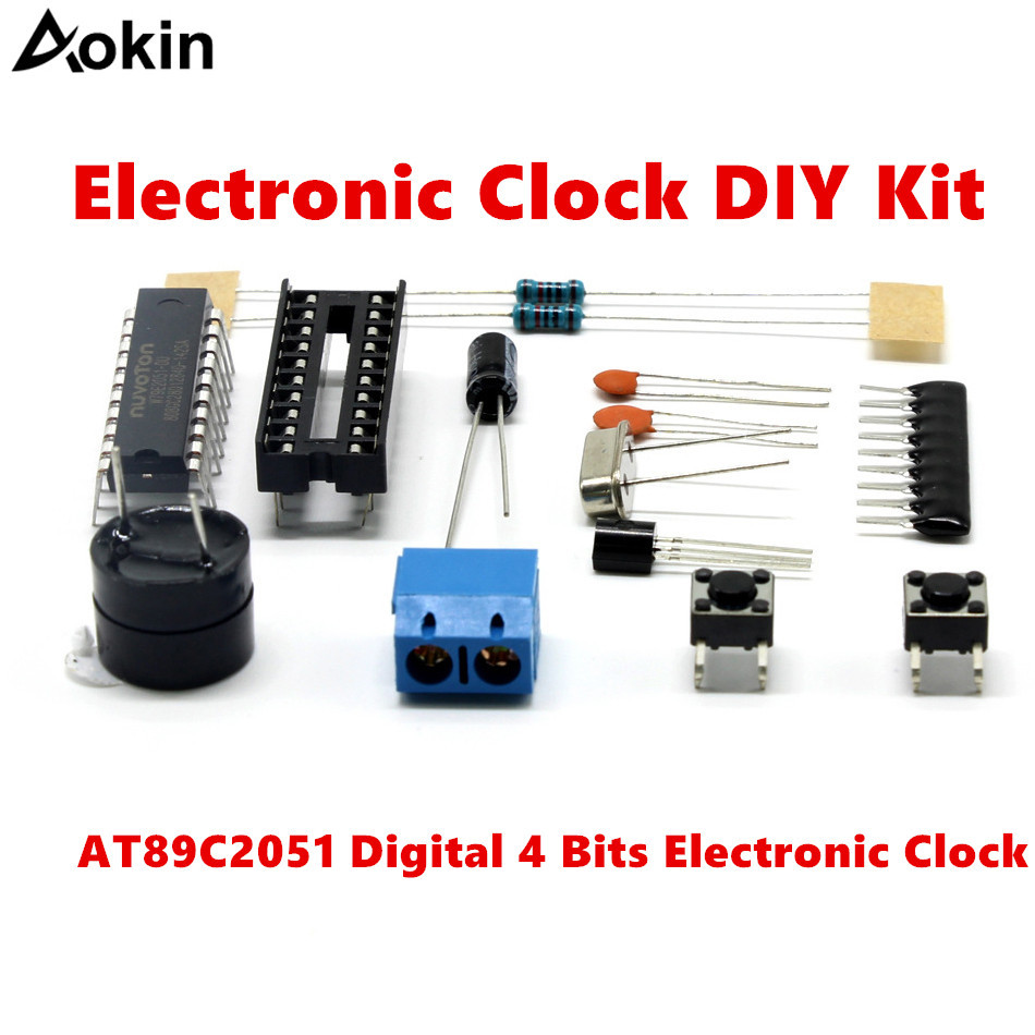 AT89C2051 Digital 4 Bits Electronic Clock Electronic Production Suite DIY Kit