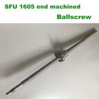 Free shipping Ballscrew SFU1605 200 300 350 400 450 500 600 mm with Ballnut Ball Screw RM 1605 end Machined CNC