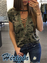 Summer Women Clothes 2019 New Casual  Loose Camouflage Short Sleeve V-Neck Tops Ladies T-Shirts