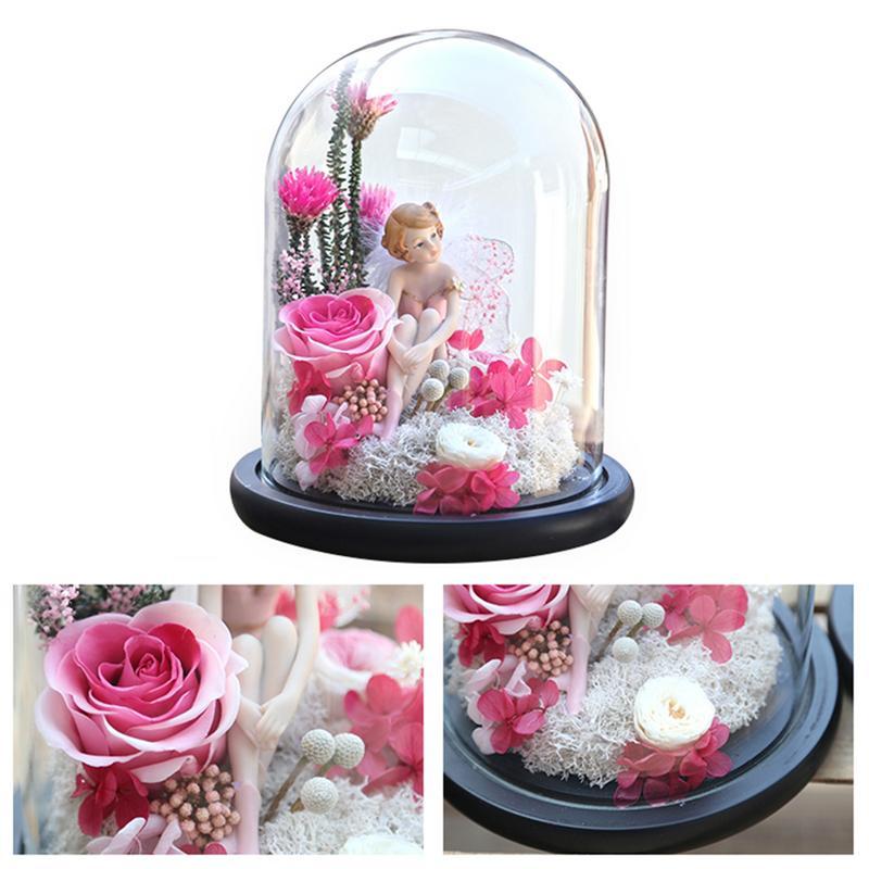Flor eterna led beleza rosa e besta alimentado por bateria flor vermelha luz da corda lâmpada de mesa romântico dia dos namorados aniversário - 2