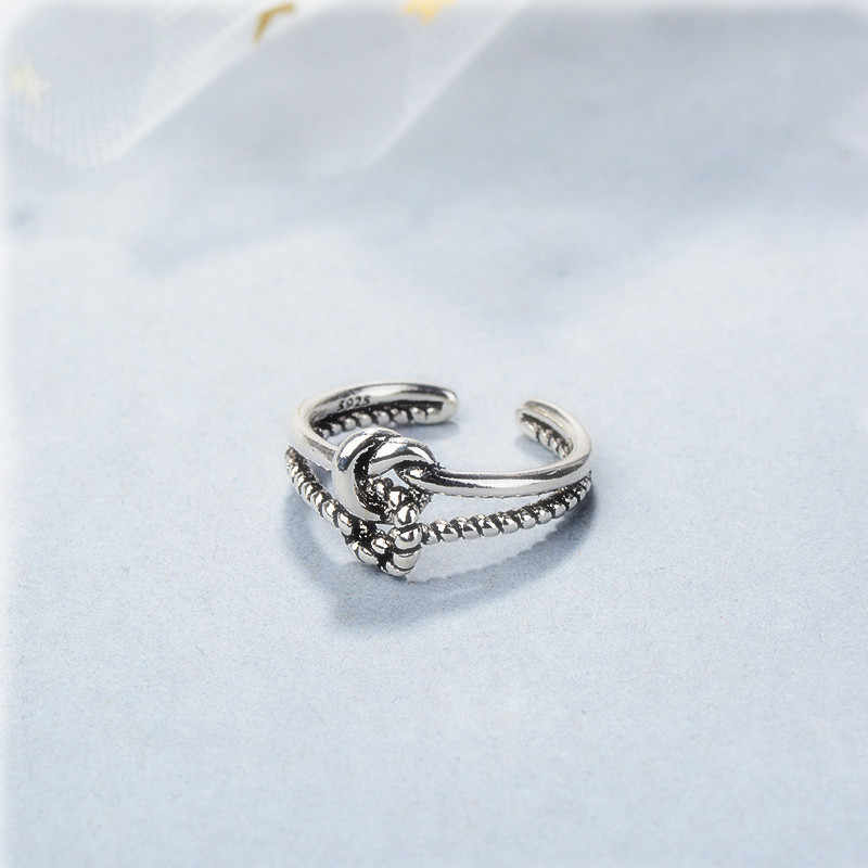 ใหม่เงินทอผ้า double knot คืนวิธีโบราณแหวนเปิดแหวนบุคลิกภาพ index แหวนนิ้วมือ