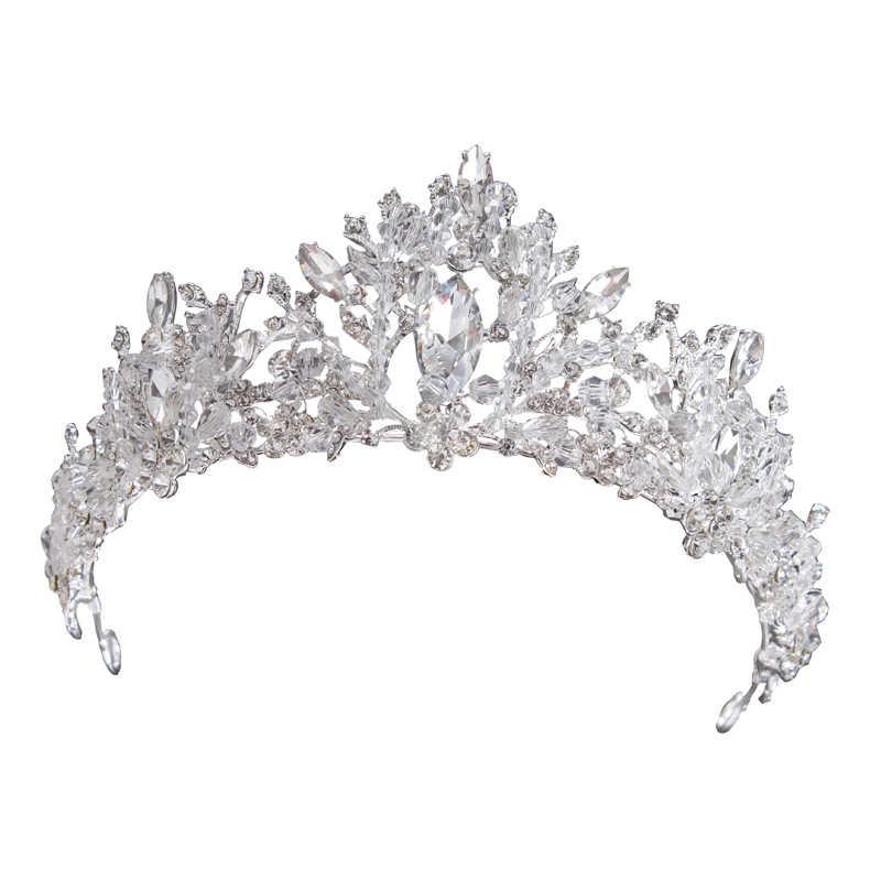 Da sposa di Cerimonia Nuziale del Diadema Della Principessa Corona di Cristallo di Modo Della Corea Accessori Per Capelli Gioielli Da Sposa Argento Oro Rosa Diademi e Corone Ragazza
