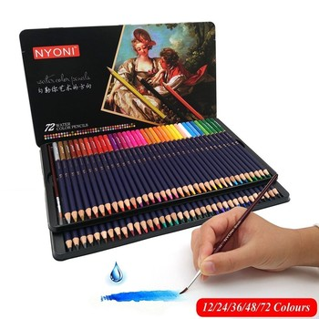 HuiQin 12/24/36/48/72 professional  Watercolor  Color Pencils lapices de colores for Coloured Drawing Pencil Set Art Supplies