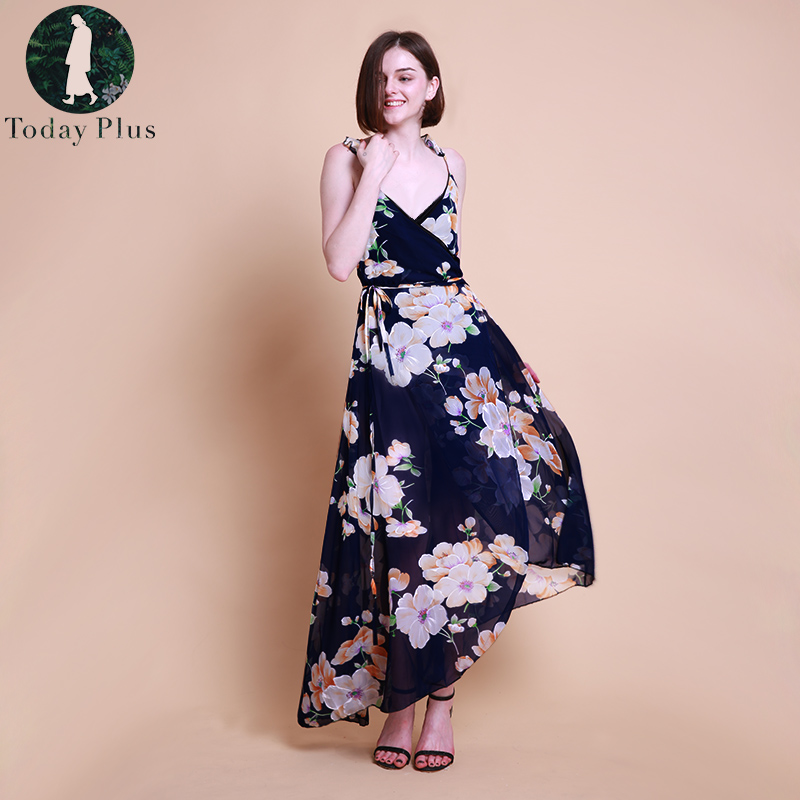 Plus Size Summer Floral Print Dress Women Boho Style Long Dresses Sexy Vintage Beach Chiffon Bodycon Maxi Dress Vestidos 2018