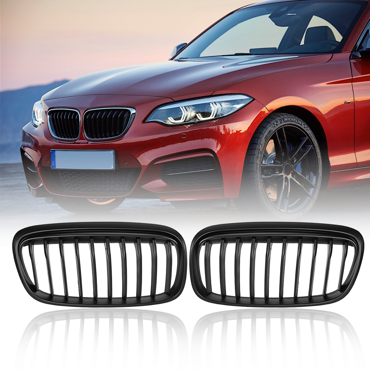 Racing Grills Pair Matte Black Front Grill Grille For BMW 2 Series Variant F45 2014 2015 2016 2017 2018 Car stylingRacing Grills Pair Matte Black Front Grill Grille For BMW 2 Series Variant F45 2014 2015 2016 2017 2018 Car styling