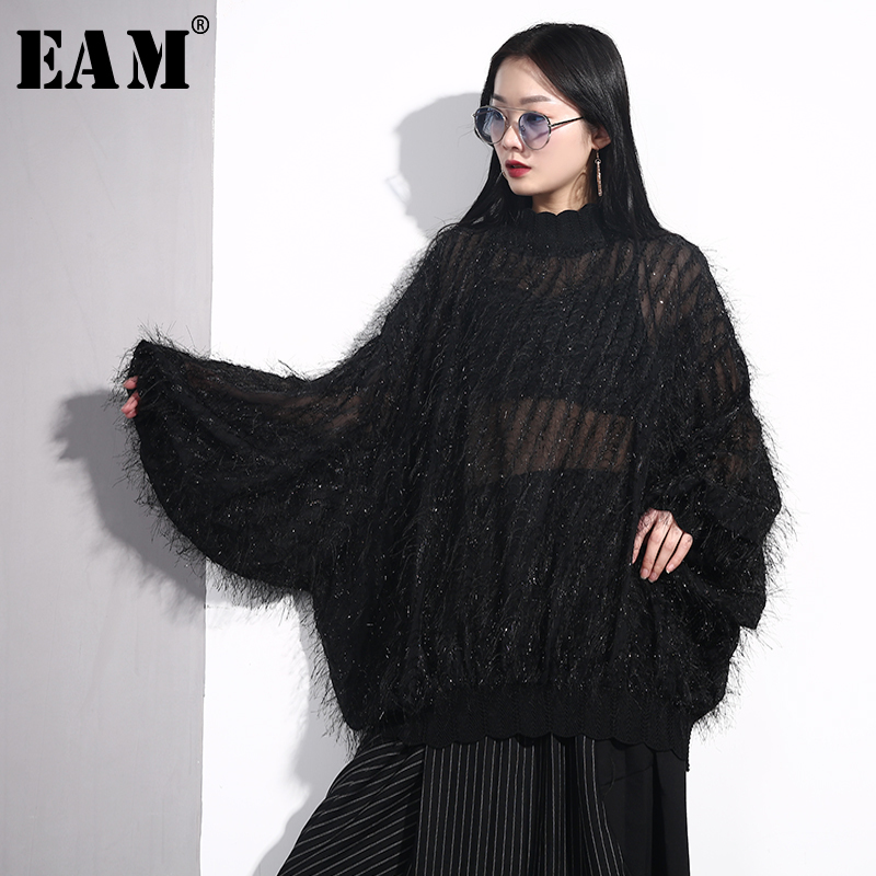 [EAM] 2019 New Autumn Winter Stand Collar Long Sleeve Black Loose Tassels Stitch Perspective Shirt Women Blouse Fashion JO34