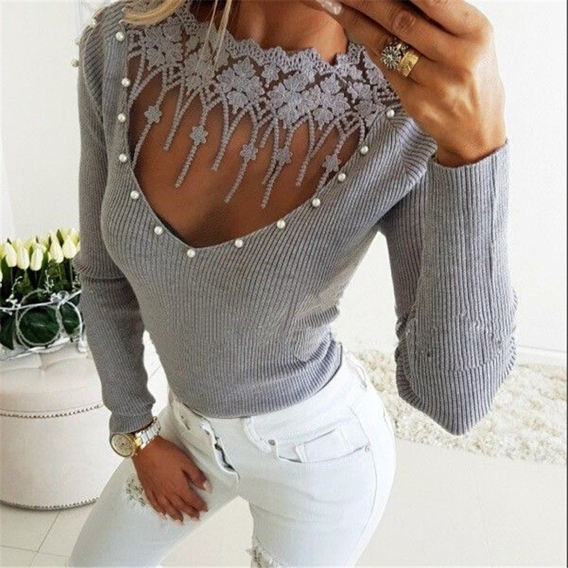 Autumn Winter Lace Floral Patchwork O Neck Warm Women Sweater Knitted Femme Pull High Elasticity Soft Female Pullovers Sweater