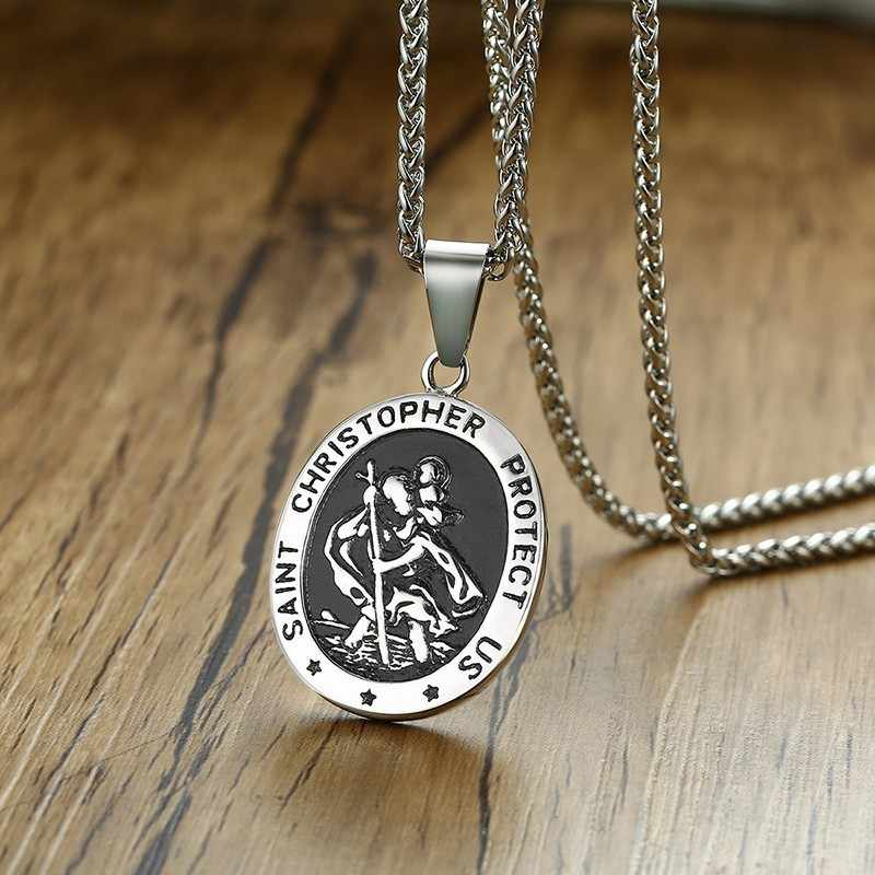 Mens Saint Christopher Necklace St Protect US Medal Religious Medallion Pendant Accent Silver Stainless Steel 24inch Chains