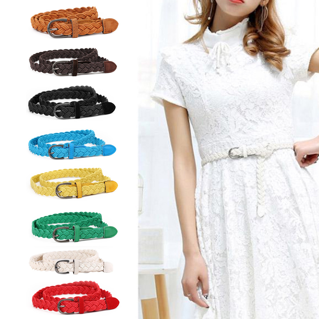2019 NEW Style Womens Belt Brief Knitted Candy Colors Hamp Rope Braid Belt Female Belt For Dress High Quality Ceinture Femme