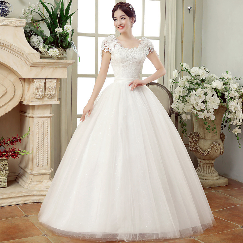 Long Wedding Dresses 2018 New White Simple Grace Sexy Boat Neck Cap Sleeves Lace Appliques Floor-Length Ball Gown Bridal Dress