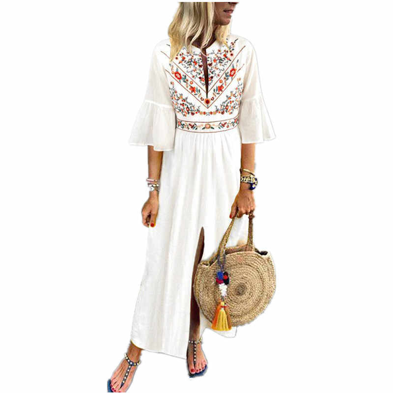 62e149a8ae602 VONDA Boho Women Printd Dress 2019 Sexy V Neck Ruffle Sleeve Split Maxi  Dresses Holiday Casual Loose White Vestidos Plus Size