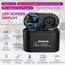 R1S светодиодный цифровой дисплей спортивные наушники TWS Беспроводная 5,0 bluetooth-гарнитура в ухо IP67 водонепроницаемые наушники для iPhone Android