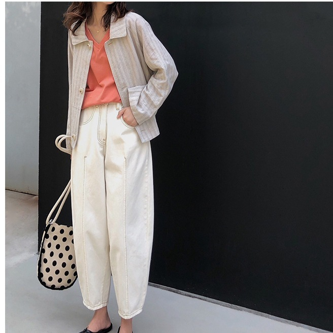 Mooirue Autumn Spring Denim Pant Woman Work White High Waist Ankle   Jeans   Wide Leg 2018 Woman Denim Loose   Jeans   Bottom