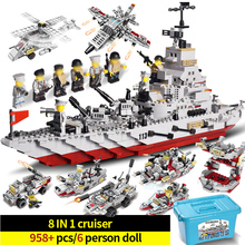 Military series Building Block Bricks Cruiser Battleship Navy warships aircraft Model Blocks Toys Compatible Legoings