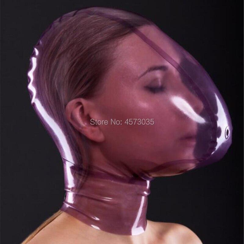 Sexy femmes à la main femme unisexe exotique transparent violet latex gonflable pleine respiration trou hottes masque cekc lingerie uniforme