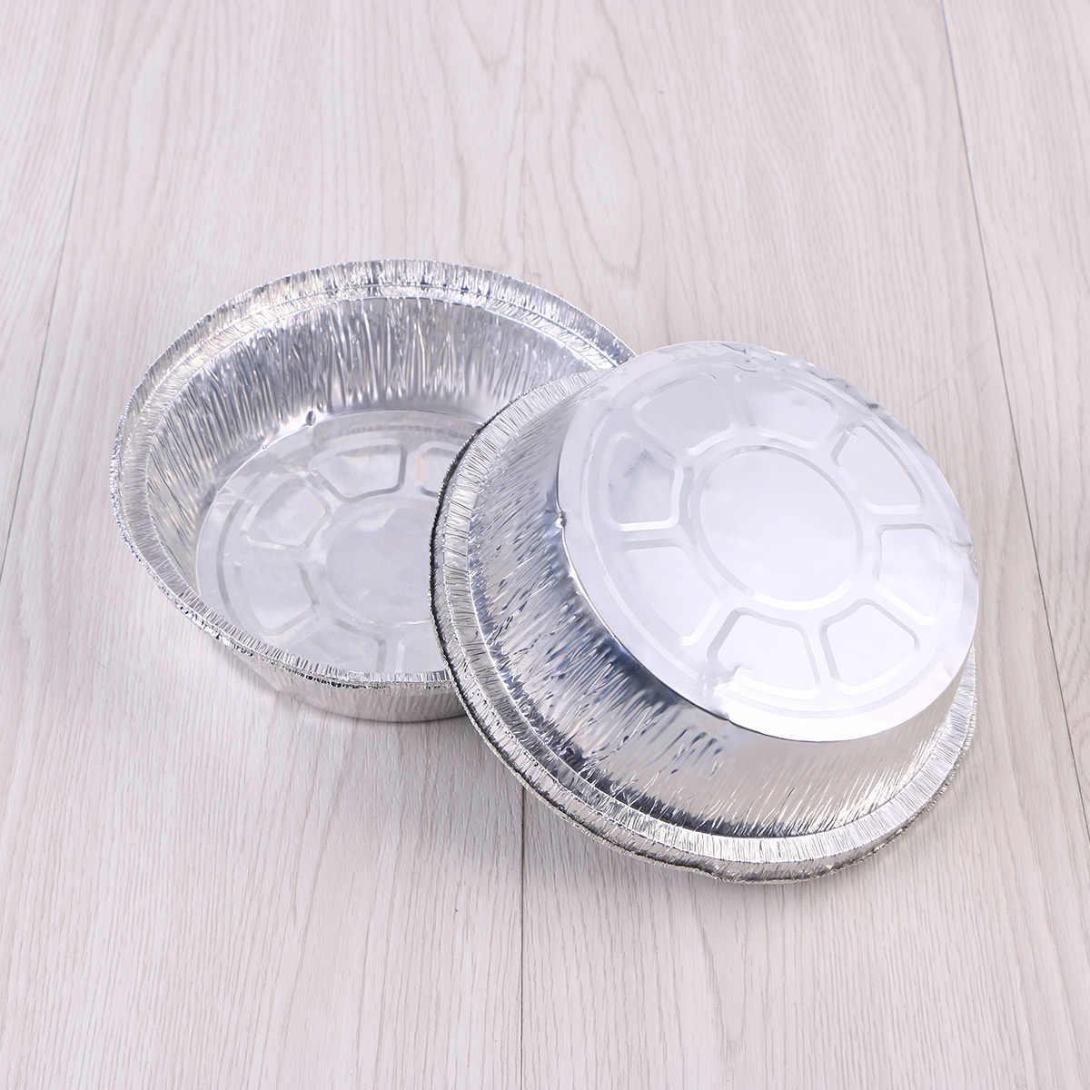 50pcs 6 אינץ עגול צורת חד פעמי עמיד רדיד אלומיניום צלחת להוציא מחבתות אידיאלי עבור ארוחות Prep, עוגות, עוגות, בשרים (אין מכסים)