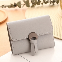 Simple Pu Leather Ladies Wallet Han Fan Small 3 Fold Card Pack Purse Fresh Girls