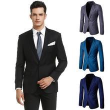 Casual Men Blazer Slim Fit Banquet Dress Mens Blazers And Suit Jackets Blazer Suit Black Navy Gray цена