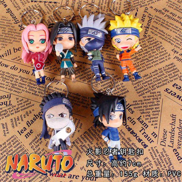 Personagem de Anime Naruto Sasuke Itachi 1 pc Aleatória Keychain Chaveiros Pingente Modelo Dolls Figuras de Ação Anime Pvc Figuras Estatueta