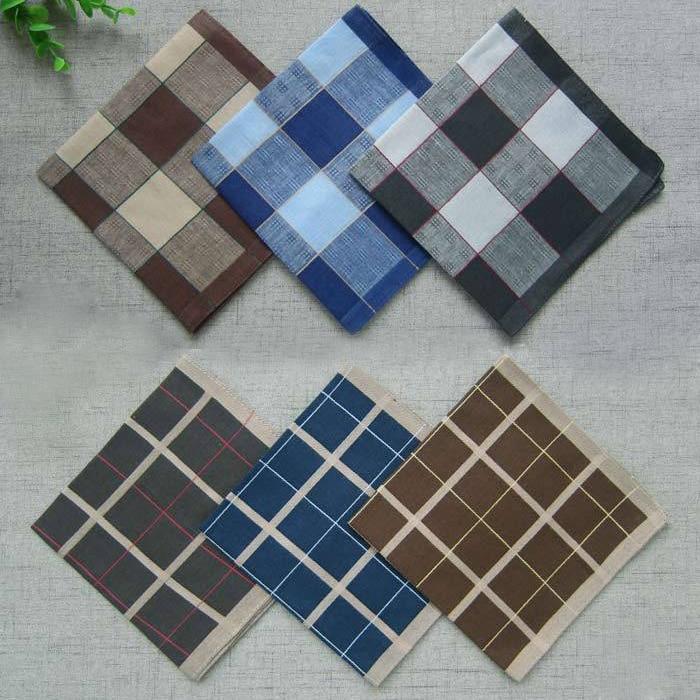 20pcs/lot Striped Plaid Men's Festival Party Handkerchief Cotton Fabric Hanky Wendding Handkerchiefs Casual Unisex Pocket Square