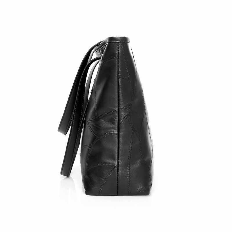 Moda hakiki deri Tote çanta kadın çanta tasarımcısı lüks çanta Patchwork omuzdan askili çanta basit büyük rahat seyahat çantası