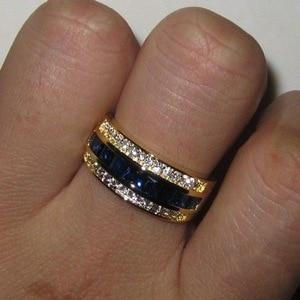 Image 5 - מלא יהלומי ספיר טבעת לנשים 18k זהב Bague או Jaune Bizuteria עבור תכשיטי Anillos גברים חן אנל תכשיטים זהב טבעת