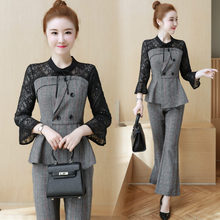 2019 spring new two-piece clothing set women OL slim lattice lace plaid coat Top shirt & stitching grid pants office suits M-XXL