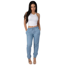 Women Solid Drawstring Elastic Waist Jeans Harem Pants Ladies Casual Middle Waist Denim Trousers Plus Size Long Pencil Pants цена 2017