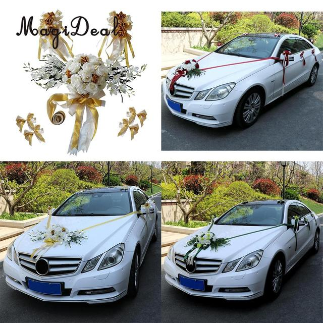 Magideal 12pcs Set Wedding Car Decorations Kit Diy Artificial Silk Flower Ribbon Bows Roof Door Mirror Supplier