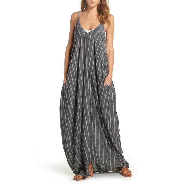 9c56e1f074 2018 Boho Women Linen Dress Sleeveless Sexy V Neck Striped Maxi Dresses  Casual Beach Sundress Summer Vestido Robe Plus Size 5XL