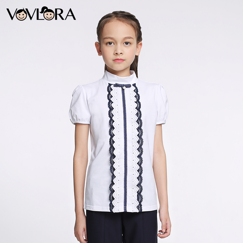Cotton Lace School T Shirts For Girls Short Sleeve Kids T-shirts Tops Children Summer Clothes 2018 Size 6 7 8 9 10 11 12 Years
