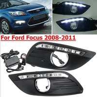 Car led drl For Ford Focus 2 mk2 2008 2009 2010 2011 front Driving Lamp Foglight Daytime Running light Drl White 12V