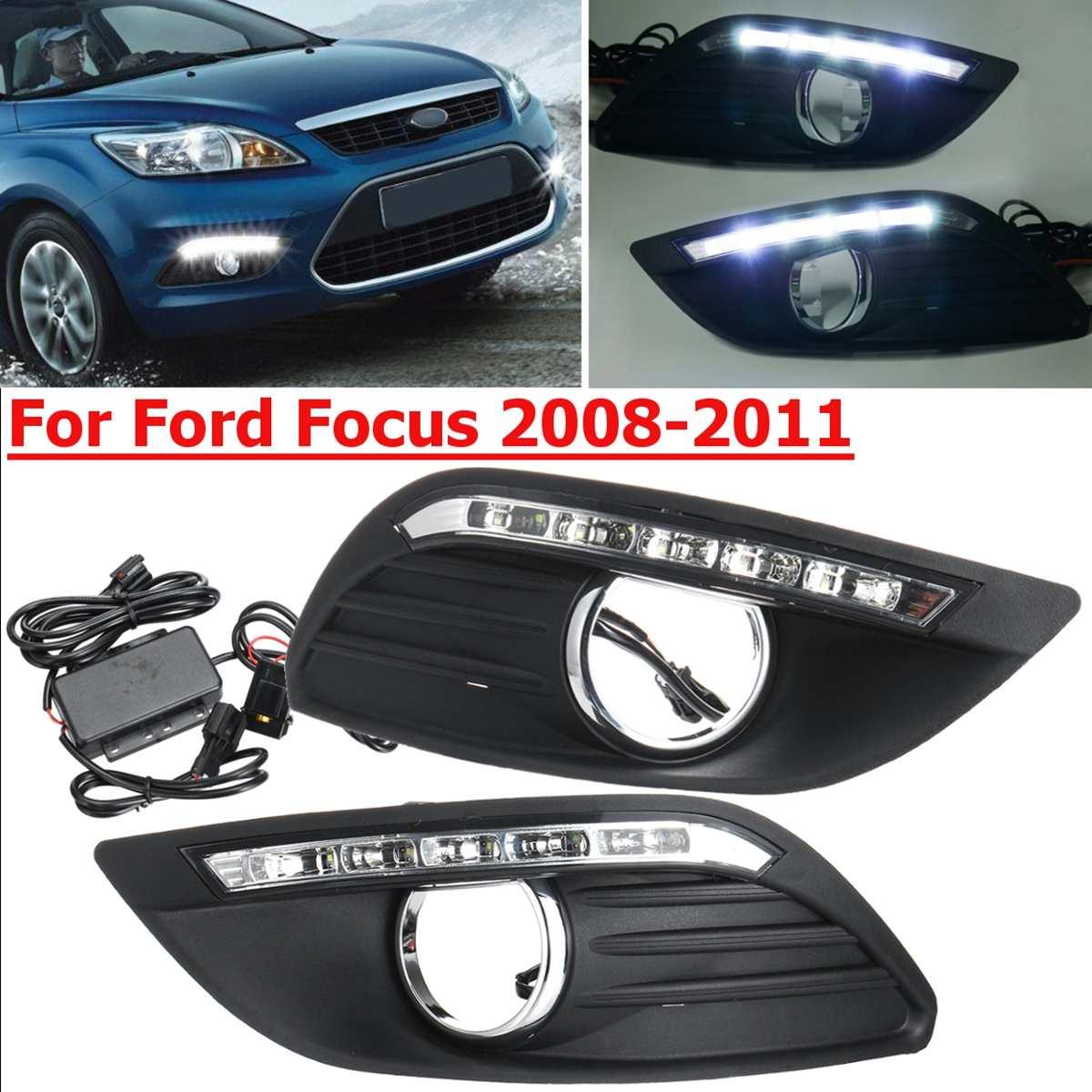 Voiture led drl pour Ford Focus 2 mk2 2008 2009 2010 2011 avant lampe de conduite feux de jour feux de jour Drl blanc 12 V