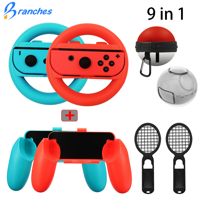 9 In 1 Controller Grips Joy-Con Case For Nintend Switch Joy Con Handle NS N-Switch Game Console Accessories Kit Elf Ball Bag