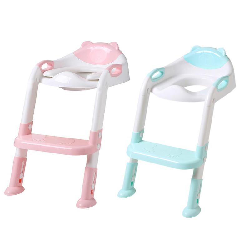 2 Colors Baby Potty Training Seat With Adjustable Size Ladder Foldable Stool Ladder Assistance Baby Seat Toilet Stool