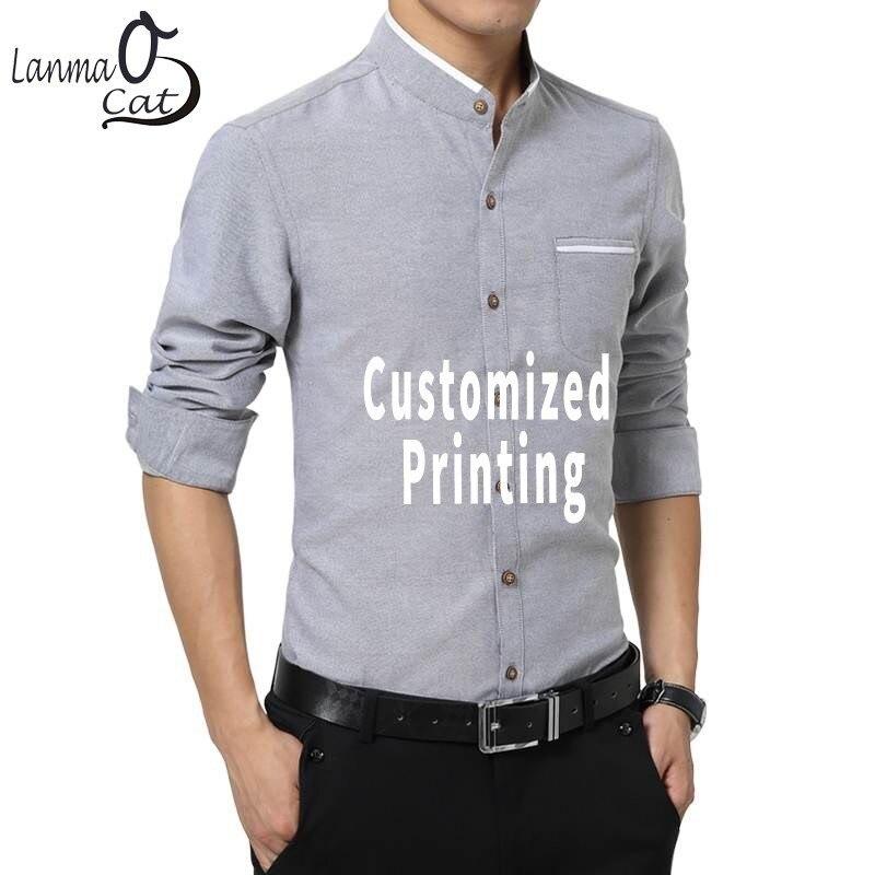 Lanmaocat hommes chemises d'affaires Slim Fit col montant décontracté conception personnalisée impression chemises décontractées grande taille livraison gratuite