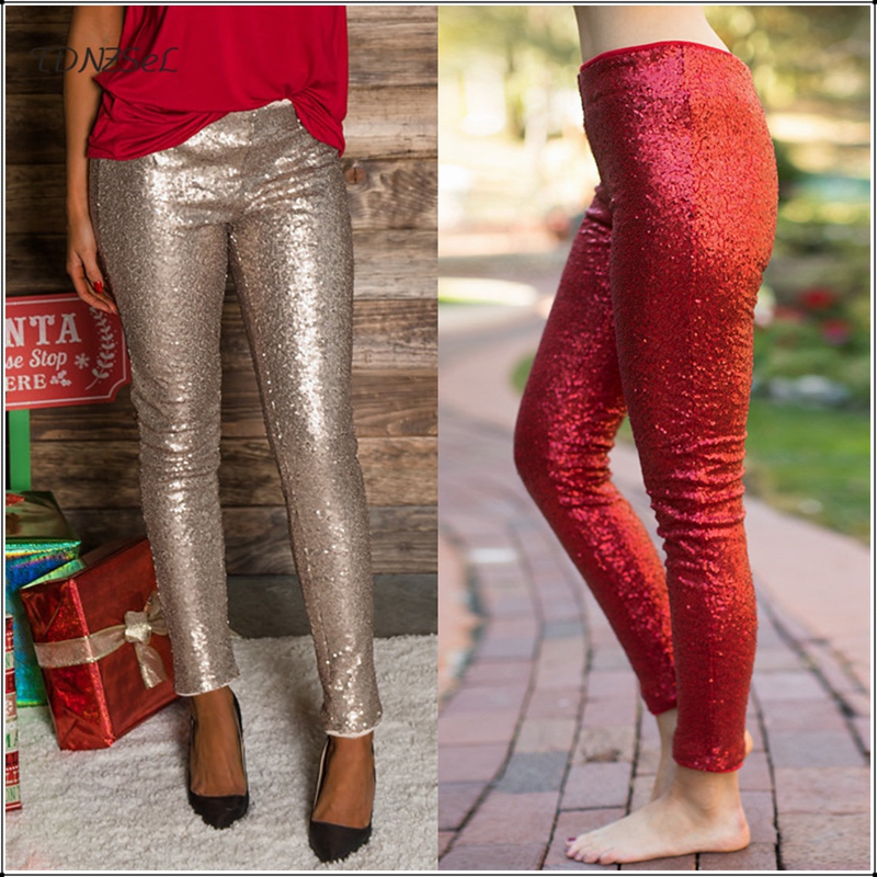 Women Sexy Glitter Mid Waist Sequined Pencil   Pants   Nightclub Party Elastic Slim Shiny Trousers Casual Sparkle Metallic   Capris