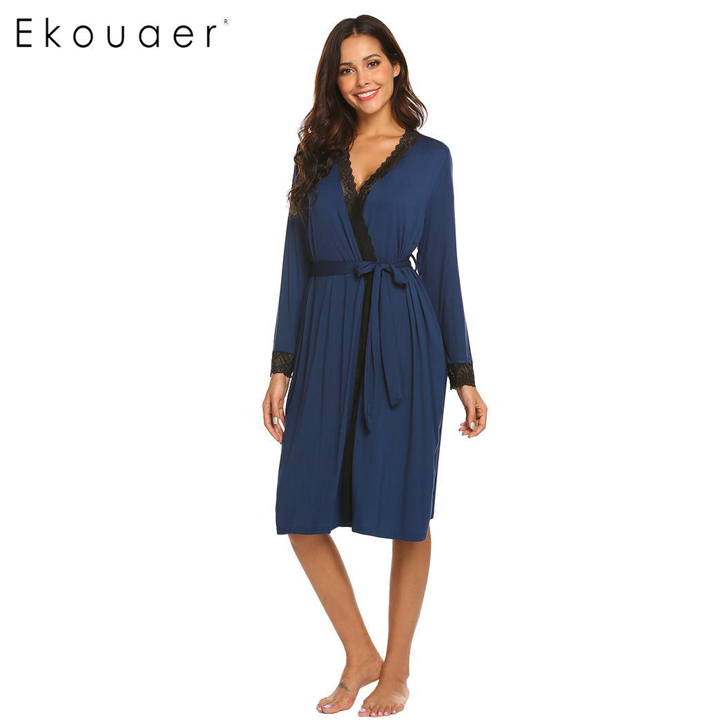 720faa3c80 Ekouaer Women Sexy Robe Lace Long Bathrobes V-Neck Sleepwear Dressing Gown  Long Sleeve Solid