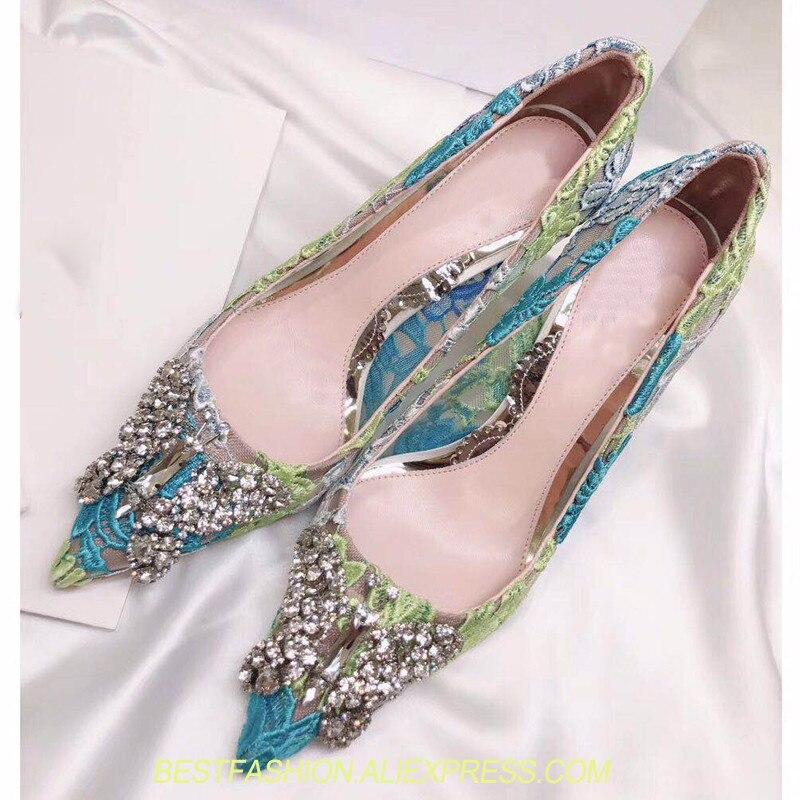 Femmes chaussures bout pointu dentelle cuir talons hauts luxe diamant papillon tenis feminino Transparent pompe Sandalias Mujer