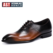 Hight End Mix Colors Leather Shoes Men Craved Oxfords Lace Up Pointed Toe Wedding Office Man Dress 45