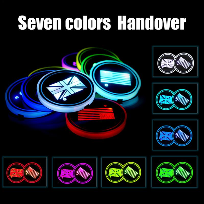 Obliging Car Led Light Coaster Anti-slip America England Turkey Saudi Arabia Flag Pad Flag Smart Atmosphere Lighting Non-slip Mat Anti-slip Mat Interior Accessories