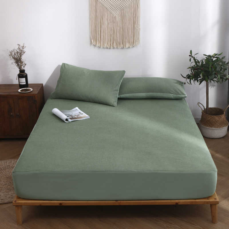 High Quality 100% Cotton Green Fitted Sheet Plain Weave Adult Bed Linings Modern Style 120x200cm 150x200cm 180x200cm