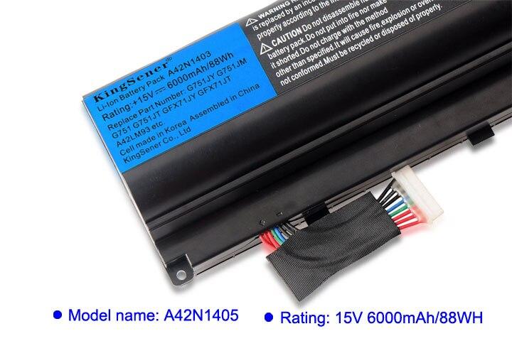 KingSener Corée Cellulaire A42N1403 Batterie D'ordinateur Portable pour ASUS ROG G751 G751JY G751JM G751JT GFX71JY GFX71JT A42LM9H A42LM93 4ICR19/66 -2 - 5