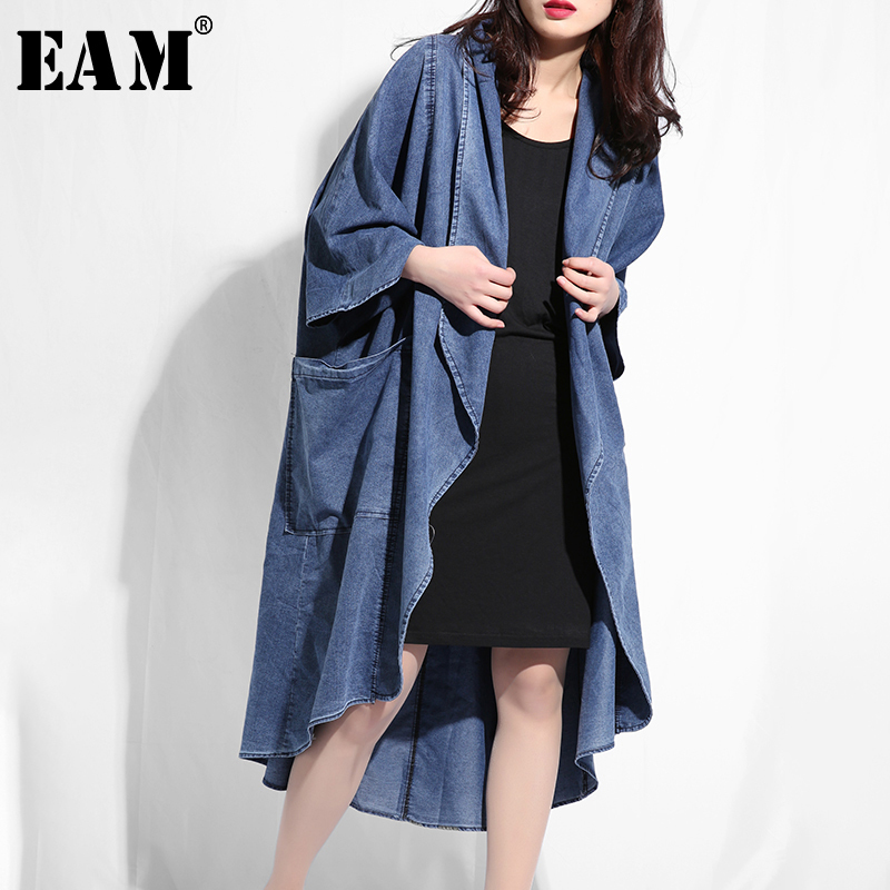 [EAM] 2019 New Autumn Winter Lapel Long Sleeve Blue Denim Irregular Hem Loose Big Size Windbreaker Women   Trench   Fashion Tide W02