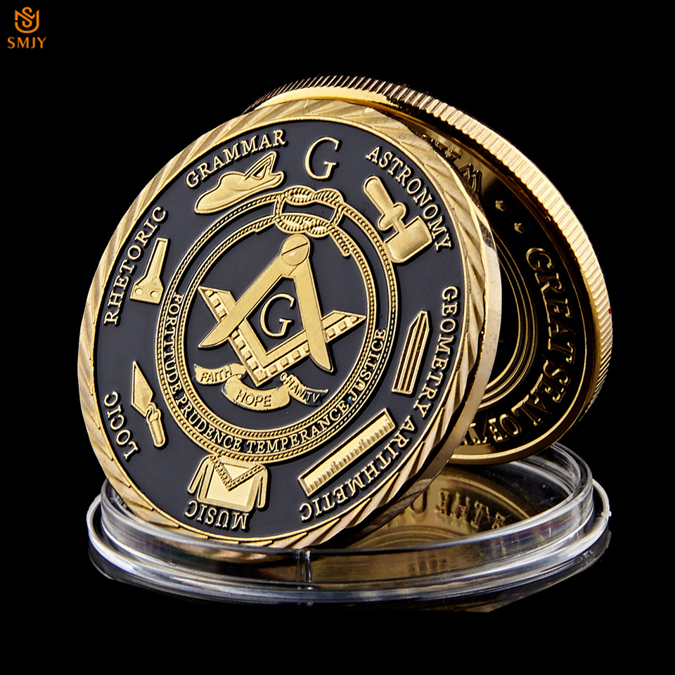 Euro Masonic Association Under A Brotherhood Of Man The Fatherhood Of God Gold Plated Token Challenge Commemorative Coin 1