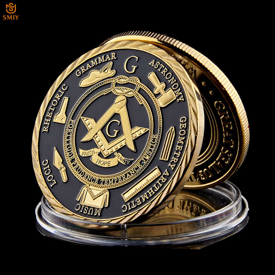 Euro Masonic Association Under A Brotherhood Of Man The Fatherhood Of God Gold Plated Token Challenge Commemorative Coin