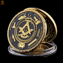 Euro Masonic Association Under A Brotherhood Of Man The Fatherhood God Gold Plated Token Challenge Commemorative Coin