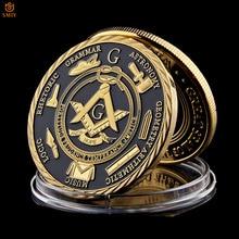 Euro Masonic Association Under A Brotherhood Of Man The Fatherhood Of God Gold Plated Token Challenge Commemorative Coin